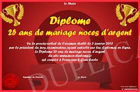 25 ans de mariage diplome 25 ans de mariage noces d argent