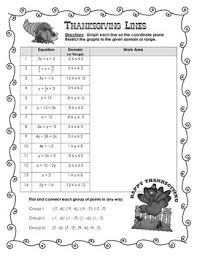 thanksgiving algebra activity graphing lines by the math toolbox