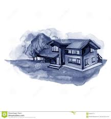 Landscape With Houses by Landscape With Houses Watercolor Illustration Stock Illustration