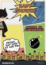 Superhero Invitation Card Baby Shower Card Invitation Superheroes Comics Stock Vector
