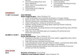 Resume Examples For Fast Food by Sample Resume Fast Food Crew Reentrycorps