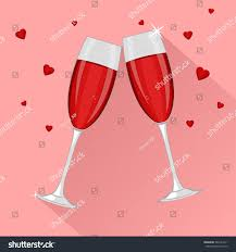 martini glasses clinking saint valentines day two glasses red stock vector 561641011