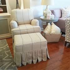Matching Chair And Ottoman Slipcovers Cotton Twill Slipcover With A Tailored Fit For This