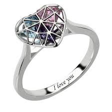 engraved promise rings images Silver heart cage ring with birthstones engraved mother 39 s ring jpg