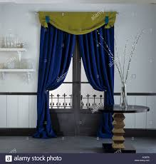 Blue Velvet Curtains Yellow Pelmet And Rich Blue Velvet Curtains On Window In Dining