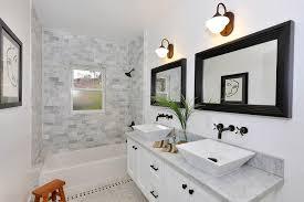 alcove tub tile ideas bathroom transitional with double vanity