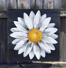 daisy painting on wood panel original flower art by clarabellearte