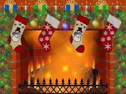 christmas fireplace screen home christmas scene with tree presents