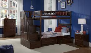 blue nautical kids boys room features dark espresso twin over twin