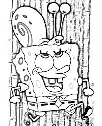 spongebob carrying gary the snail on his head coloring pages
