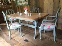 blue painted dining table upcycled shabby chic painted dining table and 4 chairs duck egg blue