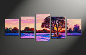 Home Decor Paintings by 5 Piece Purple Landscape Tree Oil Paintings Canvas Photography