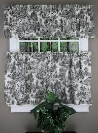 Cafe Tier Curtains Park Toile Tiers Tailored Valance Black Ellis