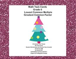 math task cards review lcm u0027s and gcf u0027s christmas tree theme by
