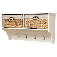 Shelf Hooks Entryway White Wall Shelf With Hooks And Baskets