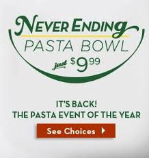 Olive Garden Never Ending Pasta Bowl Is Back - olive garden never ending pasta bowl only 7 99 with promotion and