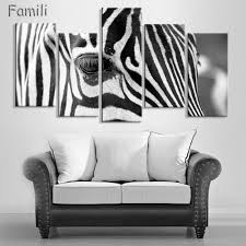 online get cheap zebra print room decor aliexpress com alibaba wholesale modern 5 pieces animal handpainted oil canvas painting picture face of zebra living room decor