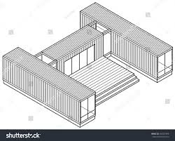 3d lineart drawing housebuilding made out stock vector 454307596