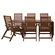ikea outdoor dining table äpplarö table 6 reclining chairs outdoor brown stained ikea