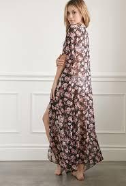 forever 21 rose chiffon maxi kimono in black lyst