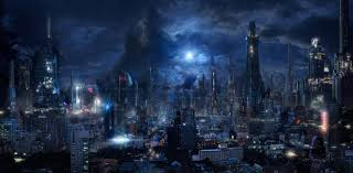 download 2652x1304 futuristic city sci fi skyscrapers night