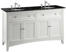 Cottage Bathroom Vanities by Adelina 60 Inch Cottage White Double Sink Bathroom Vanity Black