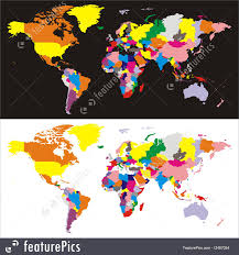 Vector World Map Signs And Info World Map With Countries Stock Illustration