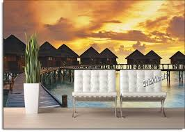 beach resort sunset peel and stick wall mural themuralstore com create your own scenic outdoor landscape with your choice of our beautiful wall murals they re the perfect solution to the room with no view