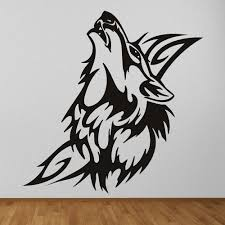 tribal animal wall stickers iconwallstickers co uk tribal wolf decorative canine wild animals wall stickers home decor art decals