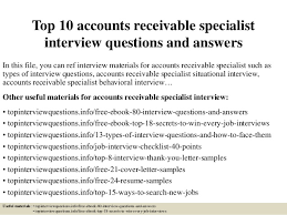 Accounts Receivable Resume Sample by Top 10 Accounts Receivable Specialist Interview Questions And Answers 1 638 Jpg Cb U003d1426580985