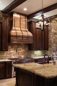 decor antique copper custom range hoods with black straps for
