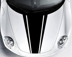 Car Bonnet Flags Car Dual Racing Stripe Hood Decals Vinyl Graphics Bonnet Stickers