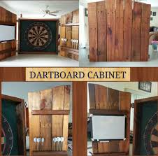 Dart Board Cabinet Plans Rustic Dartboard Cabinet Made From Recycled Wood Pallet