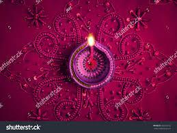 Diwali Invitation Cards For Party Beautiful Decorative Diwali Lamp On Embellished Stock Photo