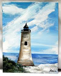 lighthouse acrylic painting 7 x 9 canvas board landscape painting unframed office canvas art wall decor art original acrylic art by thisarttobeyours