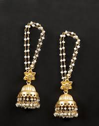 buy jhumka earrings online buy fabindia gold white silver anusuya es 1850 kaan chain jhumka