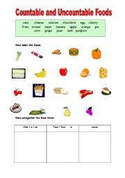 english worksheet countable and uncountable foods educação