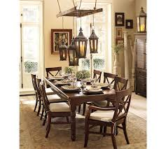 Dining Room Tables Pottery Barn Rectangle Brown Stained Wooden Glass Top Coffeee Table Glass And