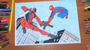 deadpool vs spiderman new coloring pages for kids colors coloring