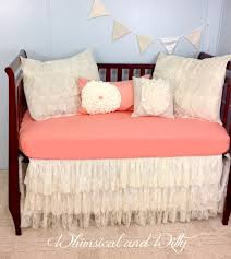 ruffle girls bedding baby bedding crib bedding shabby chic salmon and lace