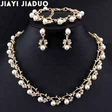 pearls necklace set jewellery images Jiayijiaduo classic imitation pearl necklace gold color jewelry jpg