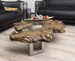 Wohnzimmertisch Holzstamm Der Tischonkel Tischplatte Clash Aus Teak Mit Glas Tisch