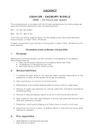 Admin Job Profile Resume by 10 Cashier Responsibilities Resume Recentresumes Com
