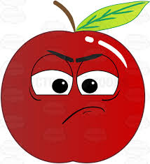 apple cartoon red apple sulking and in a bad mood emoji cartoon clipart vector toons