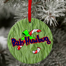 grinch ornament funny personalized grinch bah humbug christmas