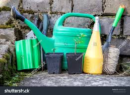 gardening tools flower pots watering can stock photo 384642328