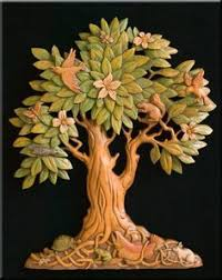 carved wood tree wall search tree of
