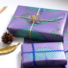 peacock wrapping paper gift set by