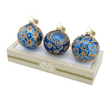 christopher radko ornaments radko boxed glass balls blue w