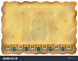 papyrus ornaments scarab stock illustration 80323354